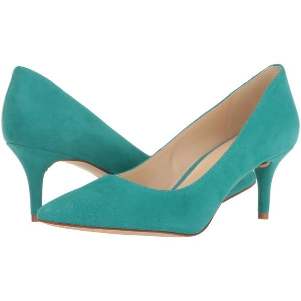 Nine West Margot (Dark Turquoise Suede) High Heels featuring polyvore women's fashion shoes pumps blue blue pumps blue high heel shoes nine west shoes blue suede pumps blue suede shoes