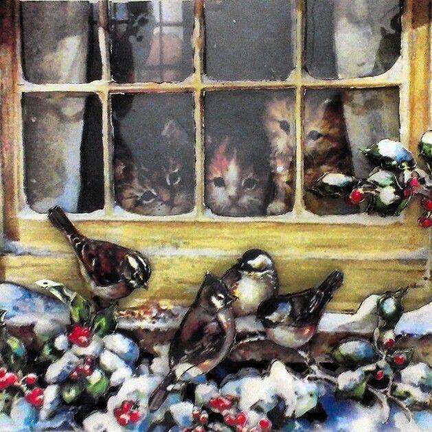 Kağıt Rölyef,Paper Art,Papertole,Yavru Kediler,Cats,Kuşlar,Serçe,Kar,SnowCute,Sevimli