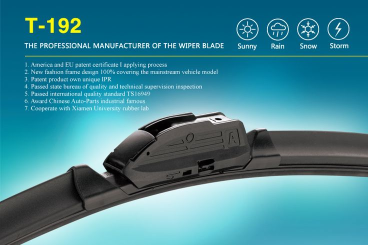 The Specification Of T-192 One-piece Multi-fit Flat Wiper Blade Aero Wiper Blades  Refill material:  natural rubber with special formula, without noise. Passed 72hours salt spray test, anti-aging test, high temperature and low temperature resistance test. Extreme weather conditions are no more problematic for the material than hot or cold temperatures. The uniform force distribution of Evodium spring strips optimises the service life further.