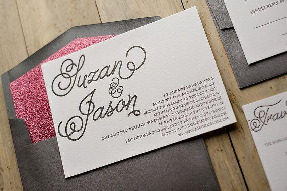 Dark Grey and Pink Glitter Whimsical Calligraphy Letterpress Wedding Invitation, metallic, glittery wedding invitation, fancy wedding invitations