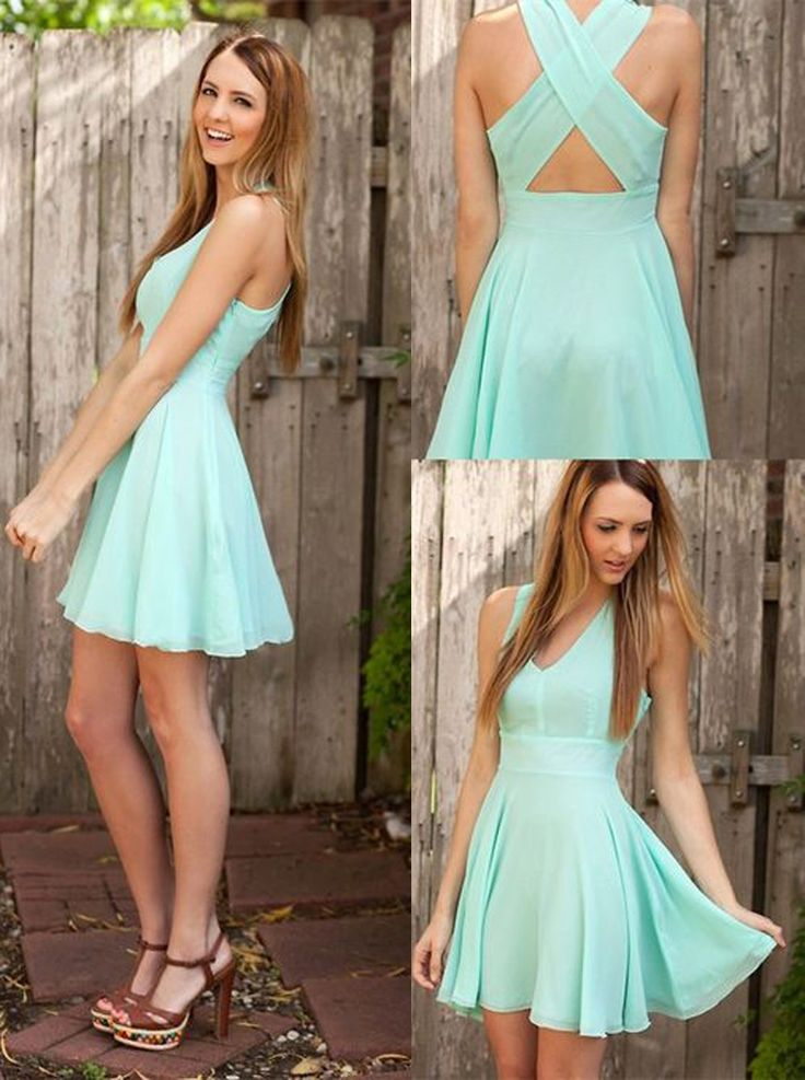 A-line V-neck Short Mint Criss-Cross Straps Chiffon Homecoming Dress With Pleats