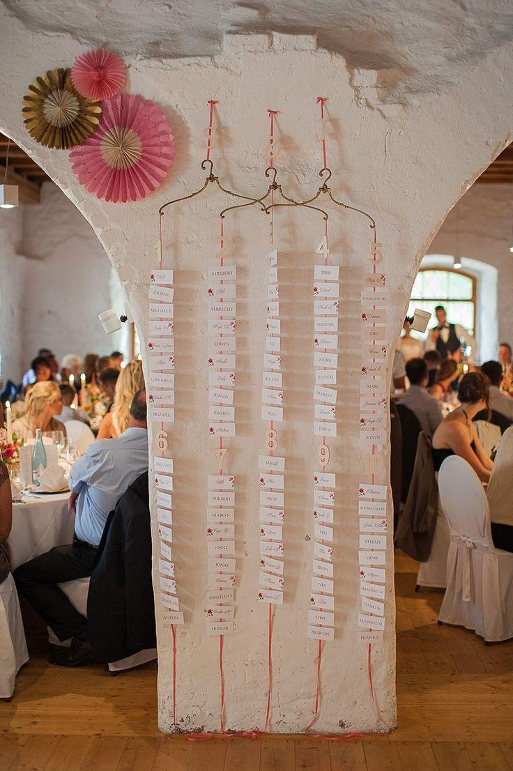 Idee Tischeinteilung/Sitzplan Hochzeit mit französischen Kleiderbügeln von Anmut und Sinn. Foto: Lena Heinemann
