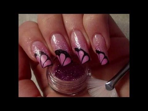Pink French manicure with black flames design by cute nails