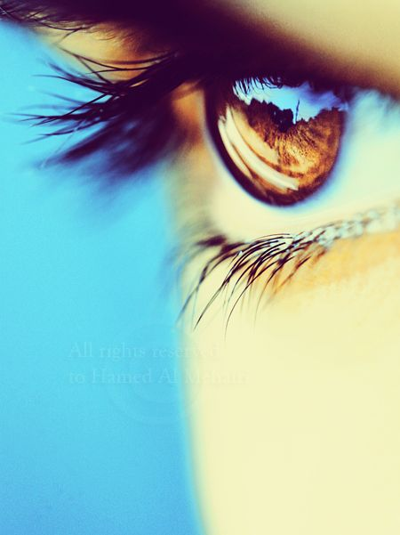 DdO:) MOST POPULAR RE-PINS - http://www.pinterest.com/DianaDeeOsborne/peaceful-people/ - PEACEFUL PEOPLE. Modern art portrait shows fantastic professional style portrait photography composition. Gorgeous close up portrait of a woman's hazel Brown Eye with long eyelashes and a turquoise blue background that reflects across the pupil and iris. - Pinned originally via Savanna Hinchcliffe