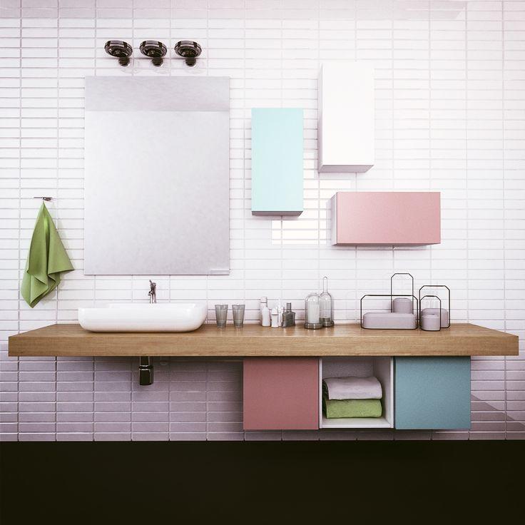 Pastel Bathroom with set of TETREES shelving system #modular #furniture #bathroom #pastel