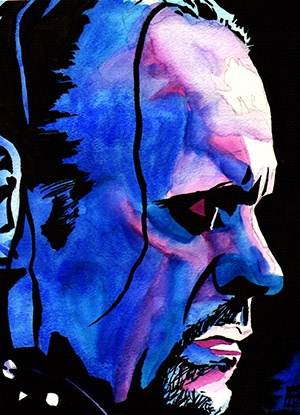 "The Undertaker l Ink and watercolor on 9"" x 12"" watercolor paper"