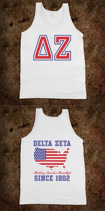 Making America Beautiful since 1902. Delta Zeta Frat Tanks - Sorority Shirts. Too CUTE!