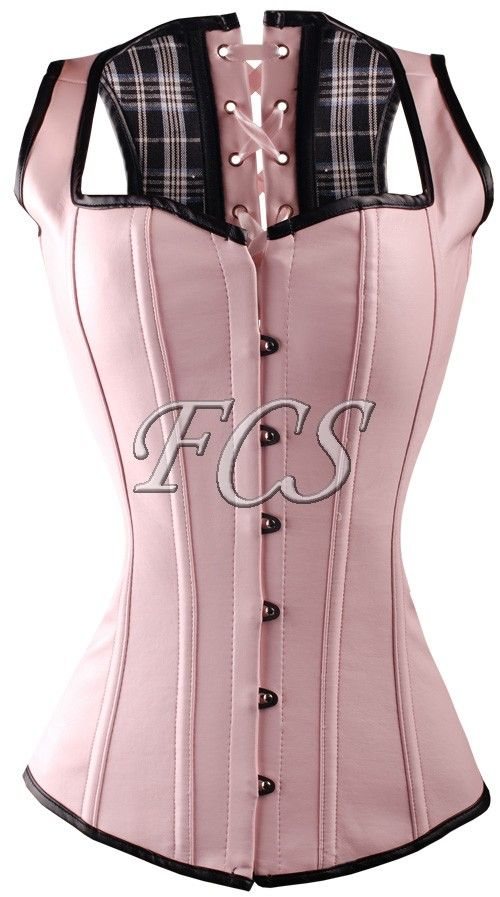 beautiful pink bonded leather overbust corset vest. Corset has full lace up back with plastic boning #corset