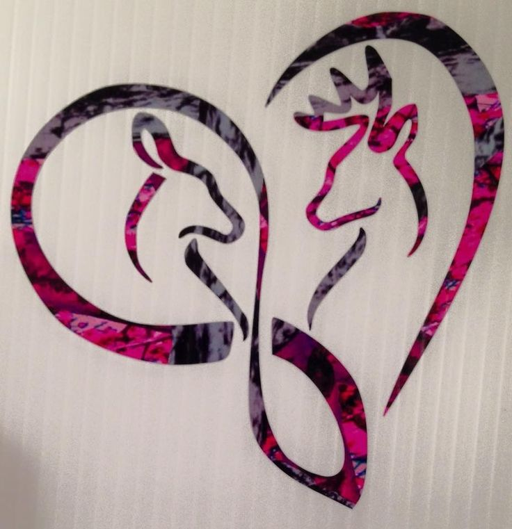 "Infinity Heart Doe Buck Deer Vinyl Decal 5"" Browning Muddy Country Truck Girl #Handmade"