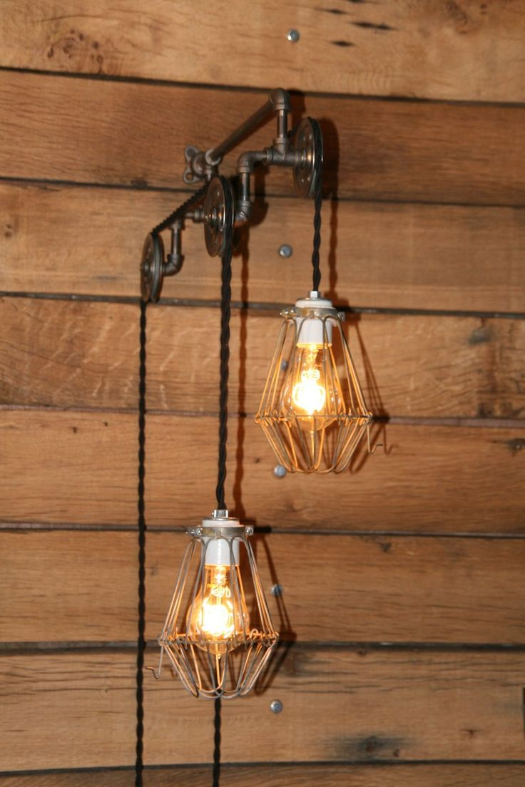 Industrial Pulley Light Wall Sconce - Trolley Wall Light with Hanging Pendant Lights - Pendant ...