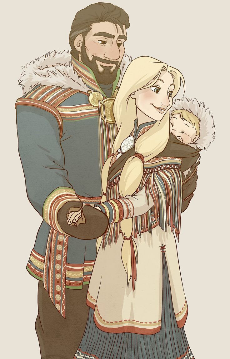 "Family by NightLiightt - Baby Kristoff from ""Frozen"", with the artist's conception of his parents - From the artist's comments: ""I think it's safe to say I was heavily influenced by Saami traditional clothing. In the 1800′s there were not as colourful and not all were so detailed, so I took reference from more recent traditional outfits. I also took creative license for a few things so that it would fit more in the Frozen movie!verse"""