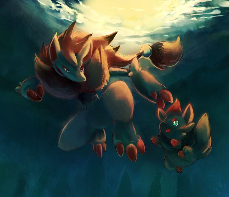 stunning zorua and zoroark pokemon artwork by slanchu