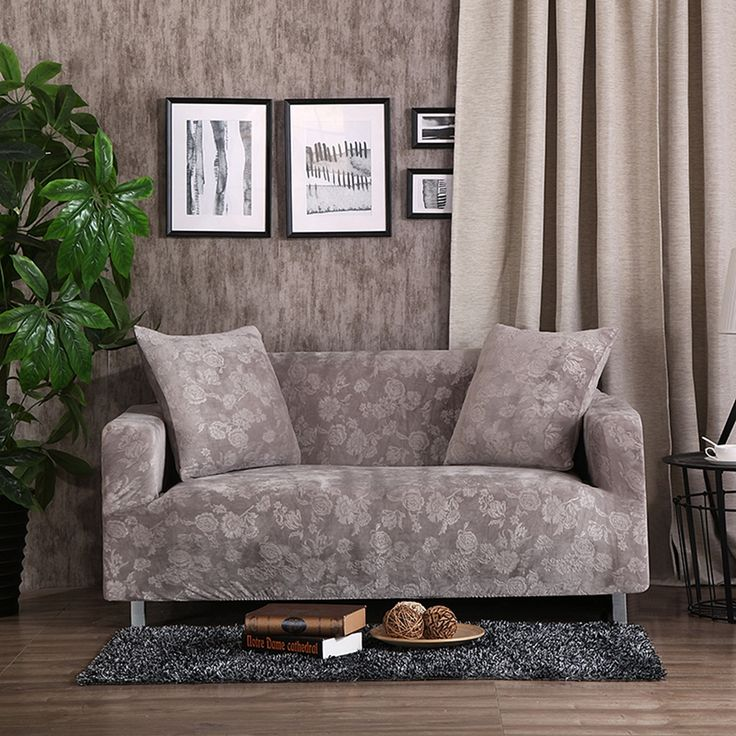 32 46USD Solid Color Embossing Stretch Sofa Cover Grey Stretch Furniture  Covers For Living Room