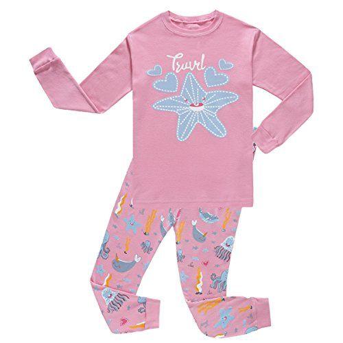 Girls Christmas pajamas Starfish long cotton toddler clothes kids sleepwear pjs size T5