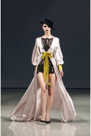 Morganite Color Lace Back Silk Robe