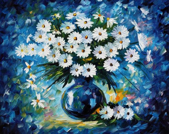 Flower Wall Decor Floral Wall Art Oil Painting On Canvas By Leonid Afremov - Radiance