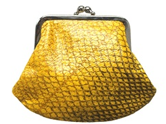 Summerish yellow purse! Small! Retro! Salmon Leather.