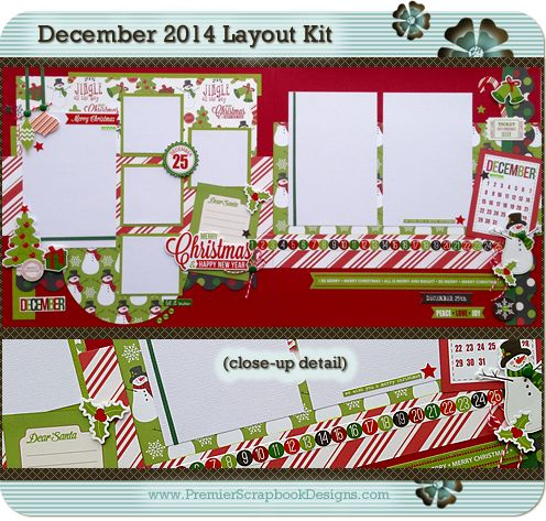 December 2014 MERRY CHRISTMAS Scrapbook Layout Kit by PremierScrapbookDesigns.com (complete with instructions) - featured at scrapclubs.com