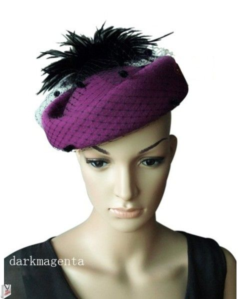 """""""Ladonna"""" Magenta/Black Hat $89.95 includes FREE Shipping"""