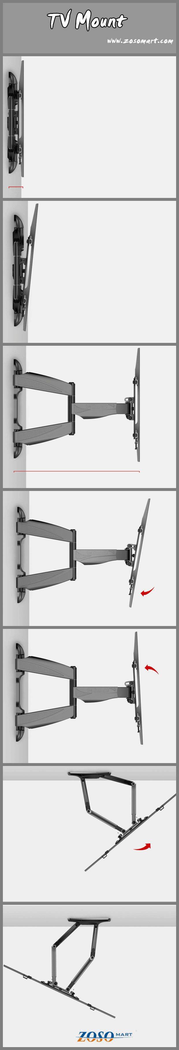 TV mount: it can tilt, stretch out and draw back, swing from side to side. Allow you to watch TV in any comfortable posture. http://www.zosomart.com/tripods-tv-accessories/tv-mount/articulating-dual-arm-swivel-titl-lcd-led-tv-wall-mount-37-42-47-50-55-60-65.html