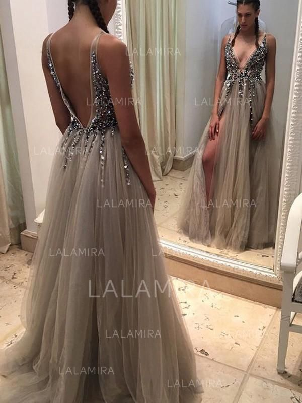 57ce9bfbc16 A-Line Princess V-neck Sweep Train Tulle Prom Dress With Beading Split  Front (018145870) - Prom Dresses - lalamira