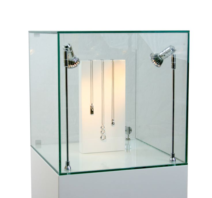 Vintage Necklaces on Jewellery Display Block in Lit Glass Display Cabinet