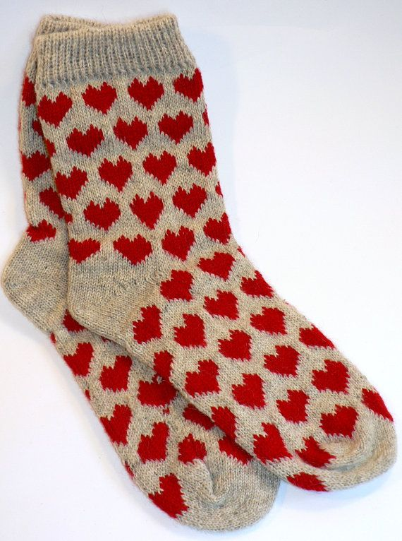 Wool Knitted Socks Patterned Size 3839 FREE SHIPPING by LinenStyle, $24.99