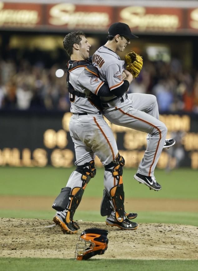Lincecum no-hitter: @ San Diego July 13, 2013. Giants catcher Buster Posey lifts Lincecum in the air after the final out is made.