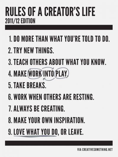 Rules of a Creator's Life #career #creative
