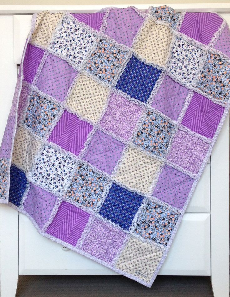 Rag Quilt - Purple Medley - Purple Chevron - Flowers - Reversible by Babybunnyhugs on Etsy