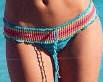 Turquoise Rainbow Crochet Bikini Bottom Women by senoAccessory