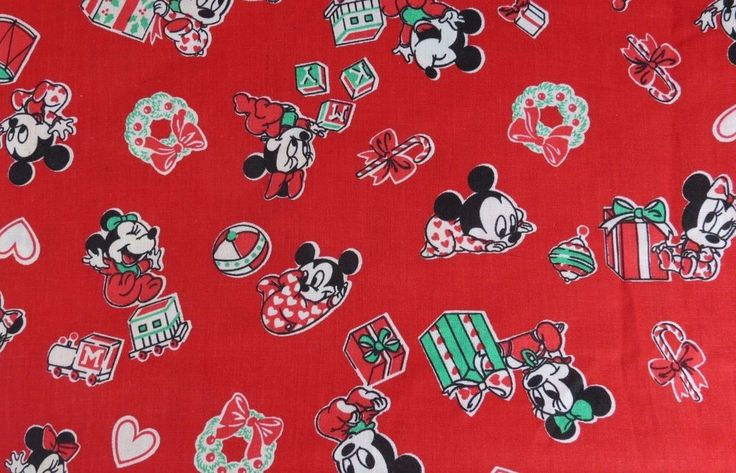 Vtg Baby Mickey Minnie Christmas Peter Pan Walt Disney Co 1984 Fabric 3 Yds #PeterPan #babydisney