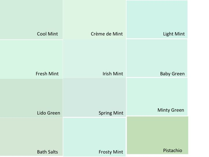 Benjamin Moore mint green paint swatches. I created this to help choose a nursery color. I am leaning toward Fresh Mint, Creme de Mint, or Cool Mint personally.