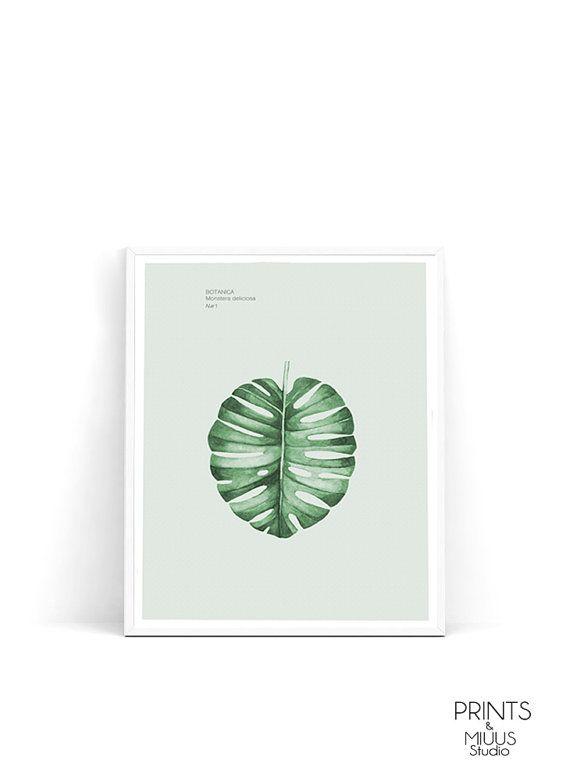 Monstera leaf monstera print palm leaf print by PrintsMiuusStudio