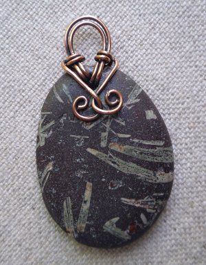 Basalt Stone Handmade Pendant with Copper Wire Bail: