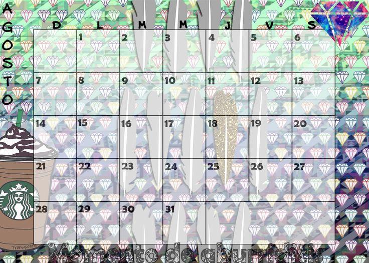 Calendario mensual #2016 - #Agosto / #Monthly #Calendar #August