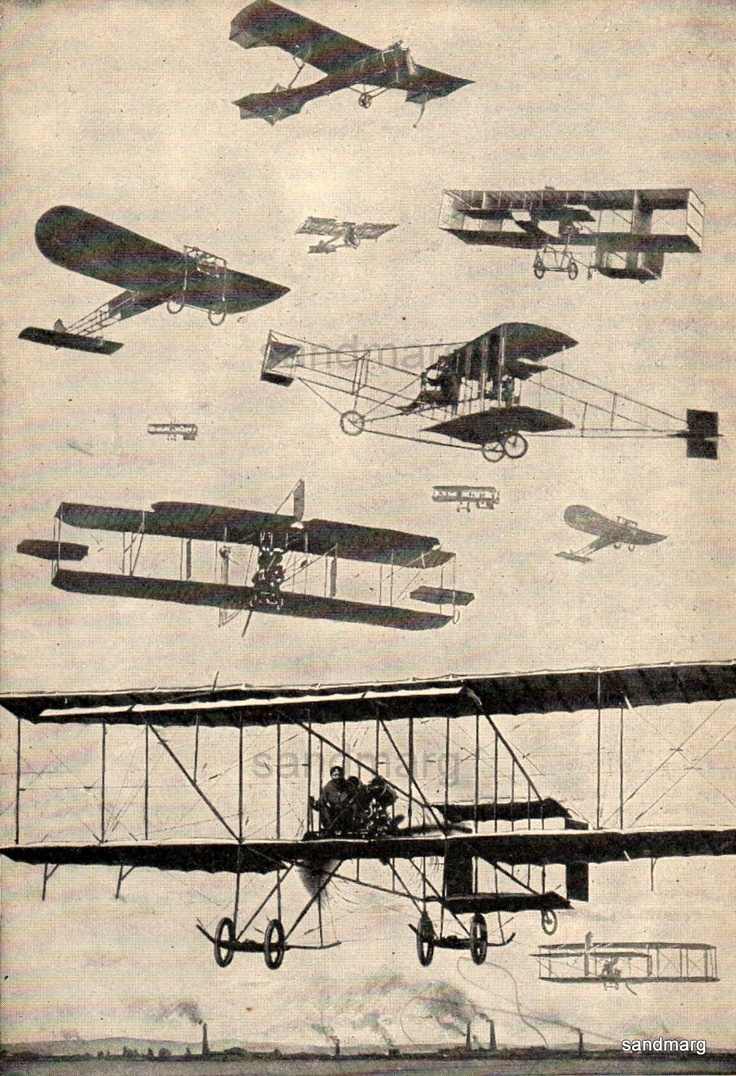 Vintage Chart of Early Types of Airplanes | Flight | Pinterest ...