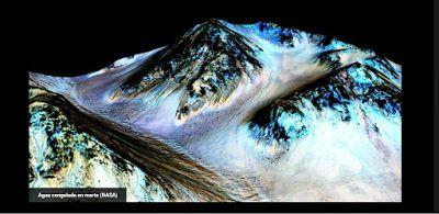 La NASA halla nuevas pruebas de la existencia de agua en Marte   La NASA halla nuevas pruebas de agua líquida en Marte  Las imágenes aéreas tomadas de Marte se parecen mucho a las de la Tierra. Uno de los accidentes más interesantes son unas estrías en el terreno que se precipitan colina abajo y que intuitivamente parecen cauces de agua. Estos cursos aparecen y desaparecen del terreno lo que refuerza la idea de que sea el agua estacional la que los forme. Pero de la intuición a la realidad…