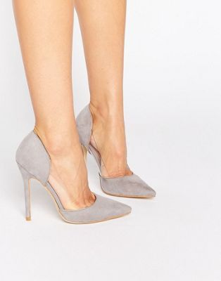 Public Desire Keeley Clear Detail Grey Court Shoes