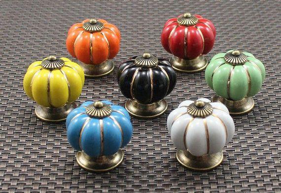 Ceramic Pumpkin Knobs Dresser Knobs Drawer Knob by JackAccessories, $3.80
