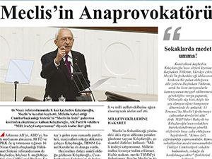 Kılıçdaroğlu'nun Meclis konuşmasını hedef alan 'gazete'den rezalet manşet!