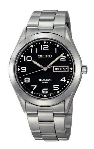 Seiko-Mens-SGG711-Black-Dial-Titanium-Watch #watchesformen #menswatch #watches #seikowatch