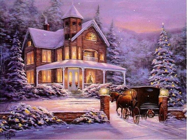 The 172 best Thomas Kinkade Winter Art images on Pinterest Merry