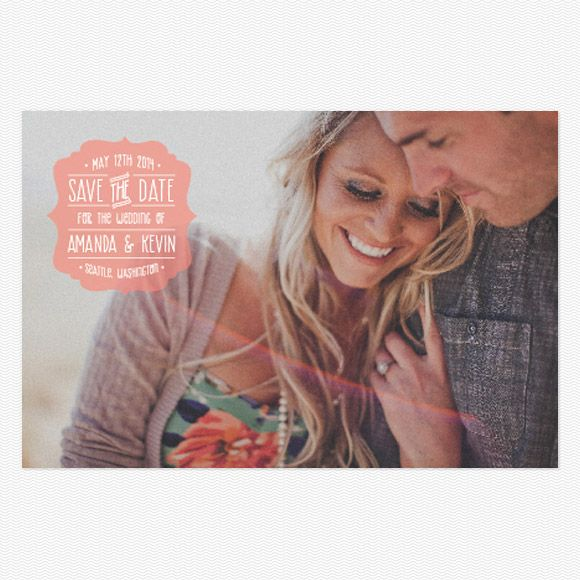 upload one of your engagement shoot photos to make these sweet save the dates