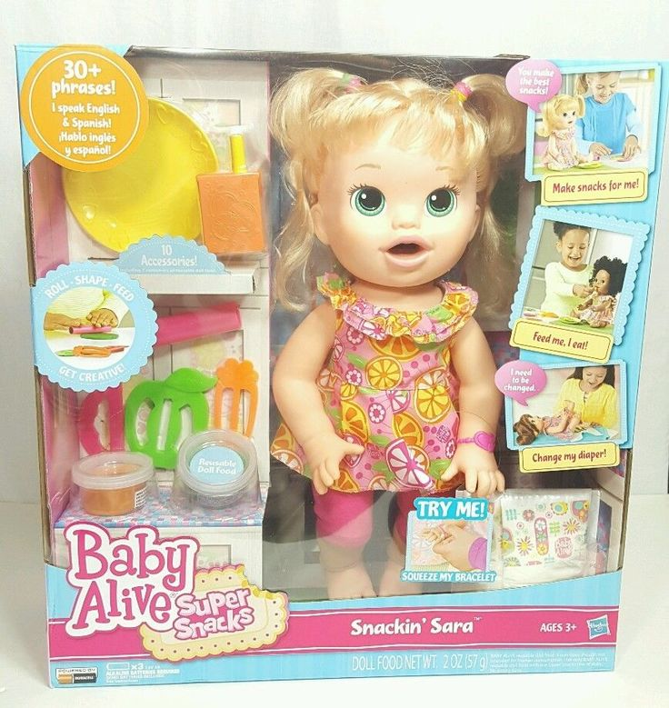 Baby Alive Super Snacks Snackin Sara Blonde Doll 30 English Spanish Phrases New Baby Alive Super Snacks Baby