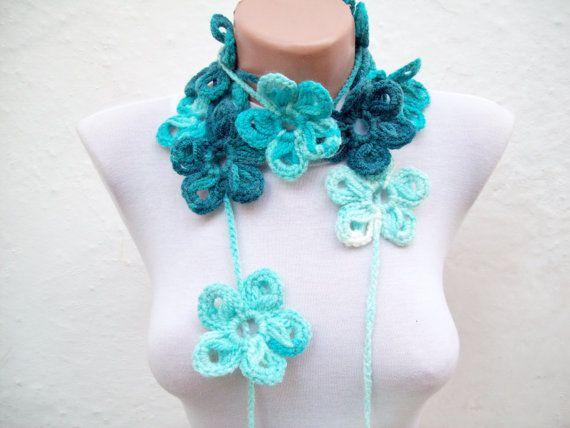 Handmade crochet Lariat Scarf Sky Blue Turquoise by scarfnurlu