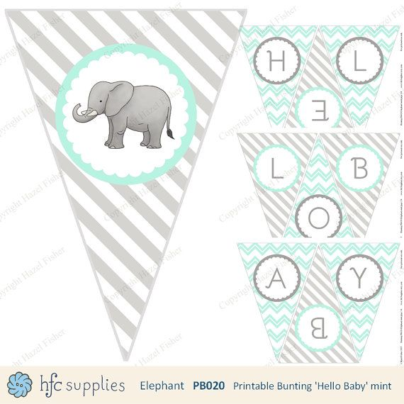 Elephant 'Hello Baby' Printable Bunting - Mint and grey by hfcSupplies on Etsy. For Baby Showers or Nursery decor, gender neutral, new baby printable.
