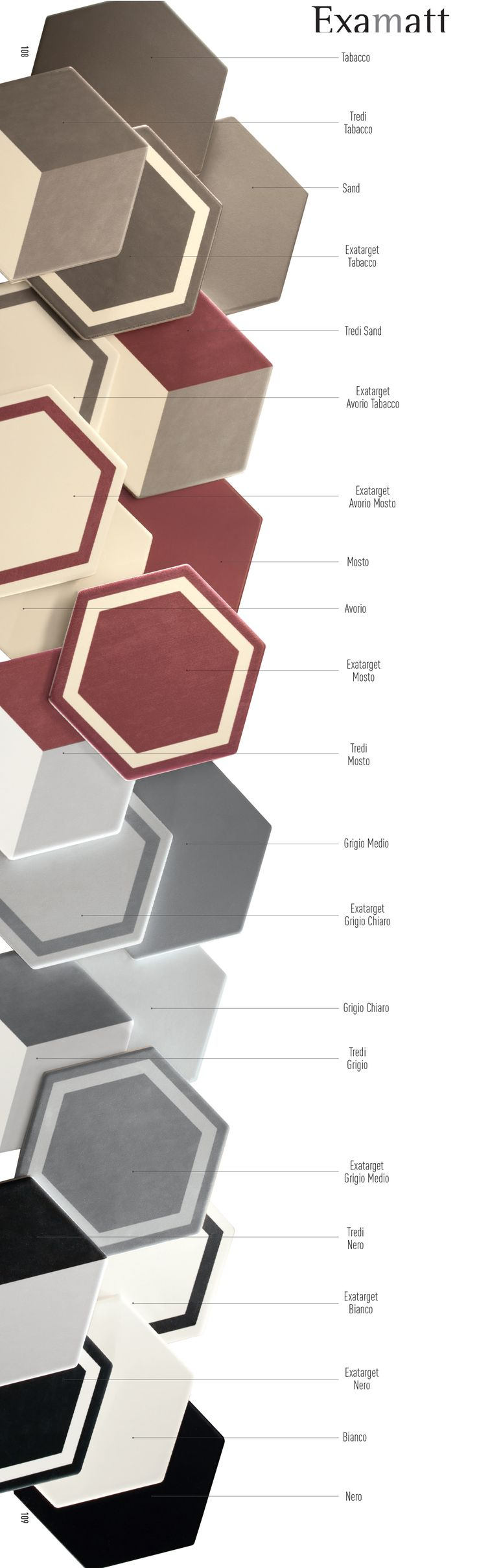 #Examatt #Tonalite #www.tonalite.it #Tiles #Piastrelle #Carreaux #Azulejos #Hexagonal #Decorated #Texture #Wall Tiles #Floor Tiles #Backsplash #Kitchen #Bathroom