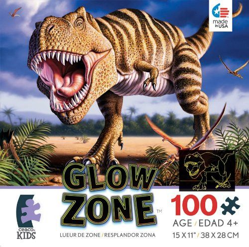 Ceaco Glow Zone Glow-in-The Dark T-Rex Jigsaw Puzzle