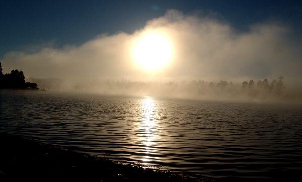 Sunrise over the Pine Lake in Mpumalanga
